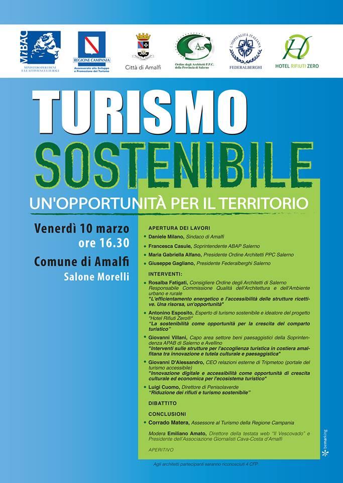 Locandina turismo sostenibile Amalfi